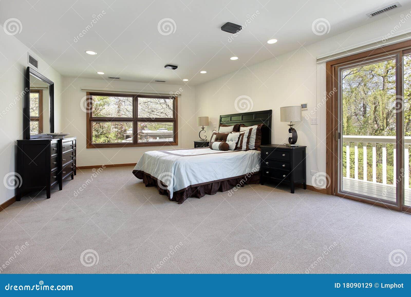 Master Bedroom With Door To Balcony Stock Image Image 18090129