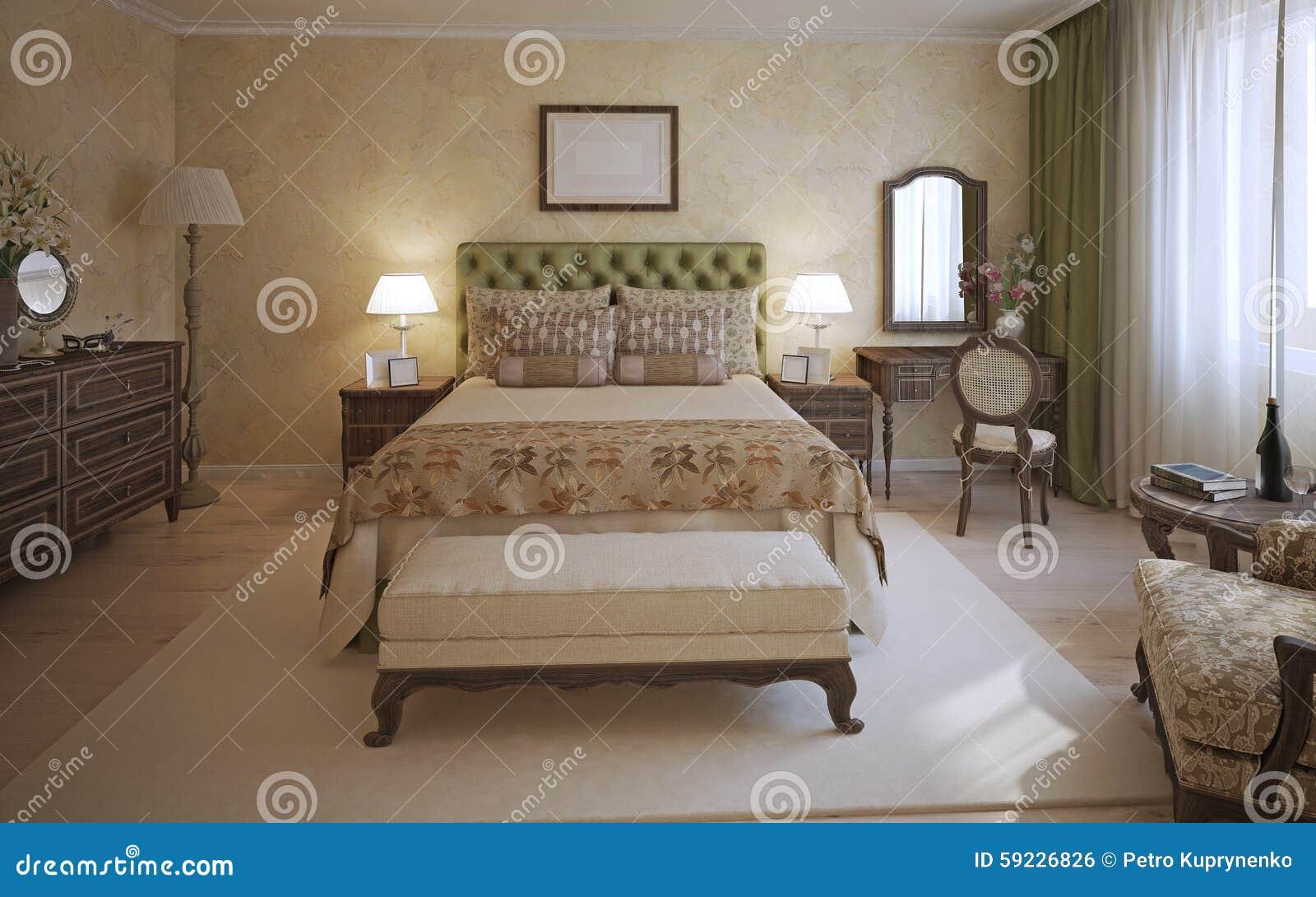 Https Www Dreamstime Com Stock Illustration Master Bedroom English Style Room Two Place Bed Olive Headboard Dark Oak Furniture Bench White Carpet Middle Image59226826