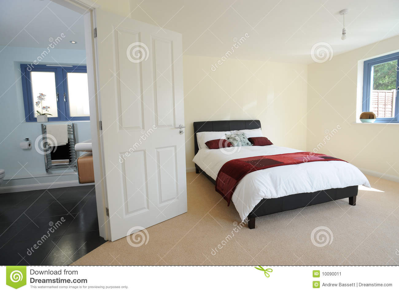 Master Bedroom With Ensuite Stock Image - Image of design, designer ...