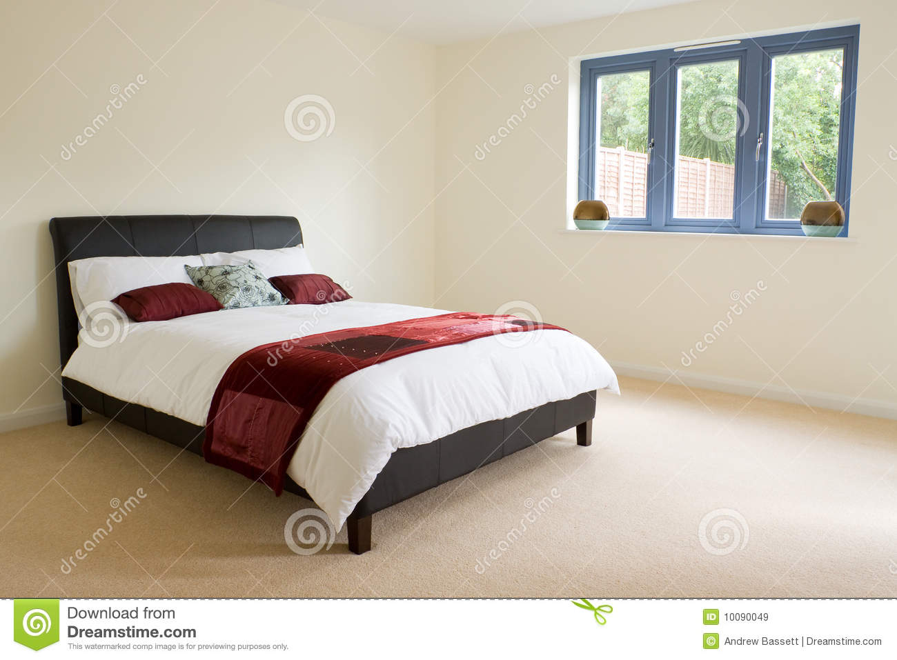 Master Bedroom With Ensuite Stock Image - Image of clean ...