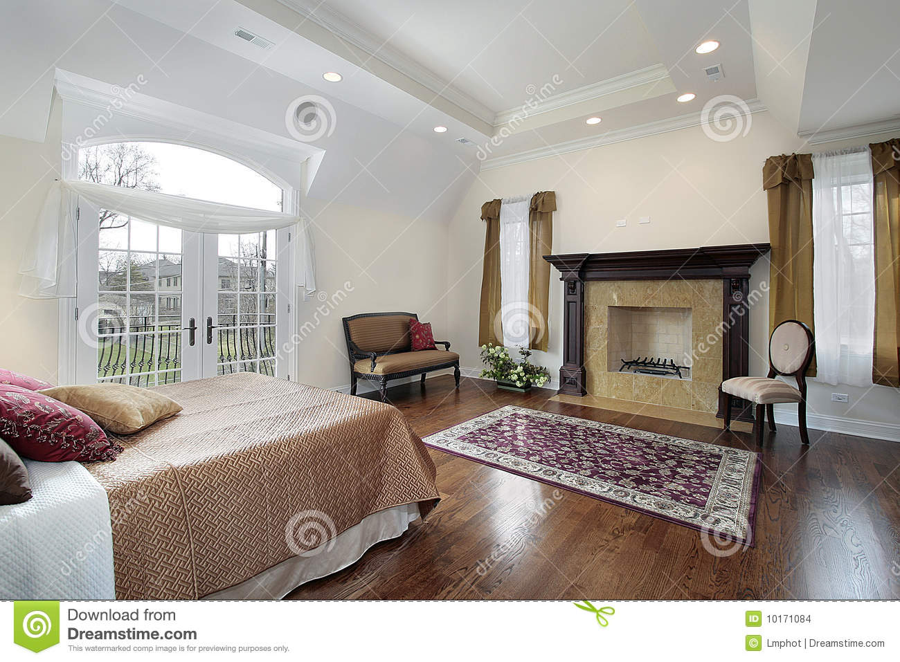 master bedroom with fireplace stock images image 10171084