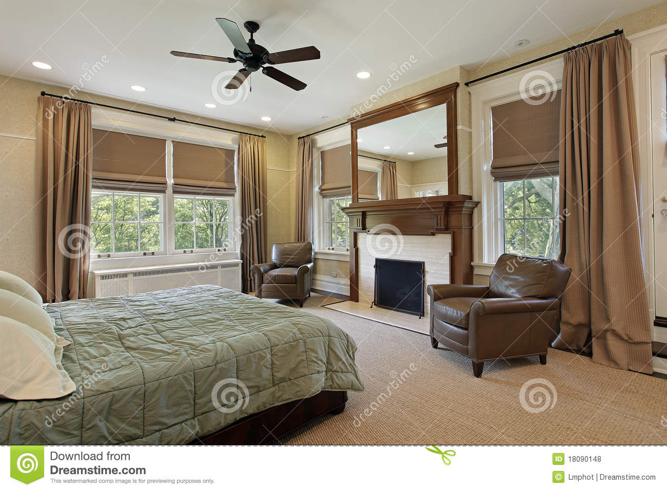 Master Bedroom With Fireplace Stock Photo Image 18090148