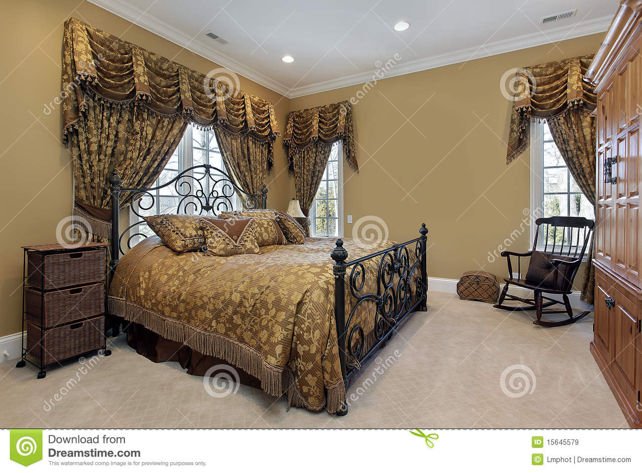 Master Bedroom With Gold Walls Stock Image Image Of