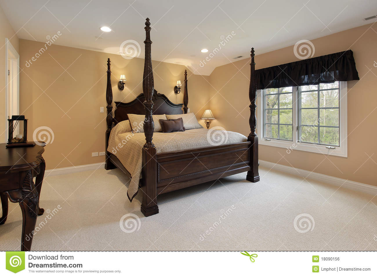 Master Bedroom With Gold Walls Stock Photo Image 18090156