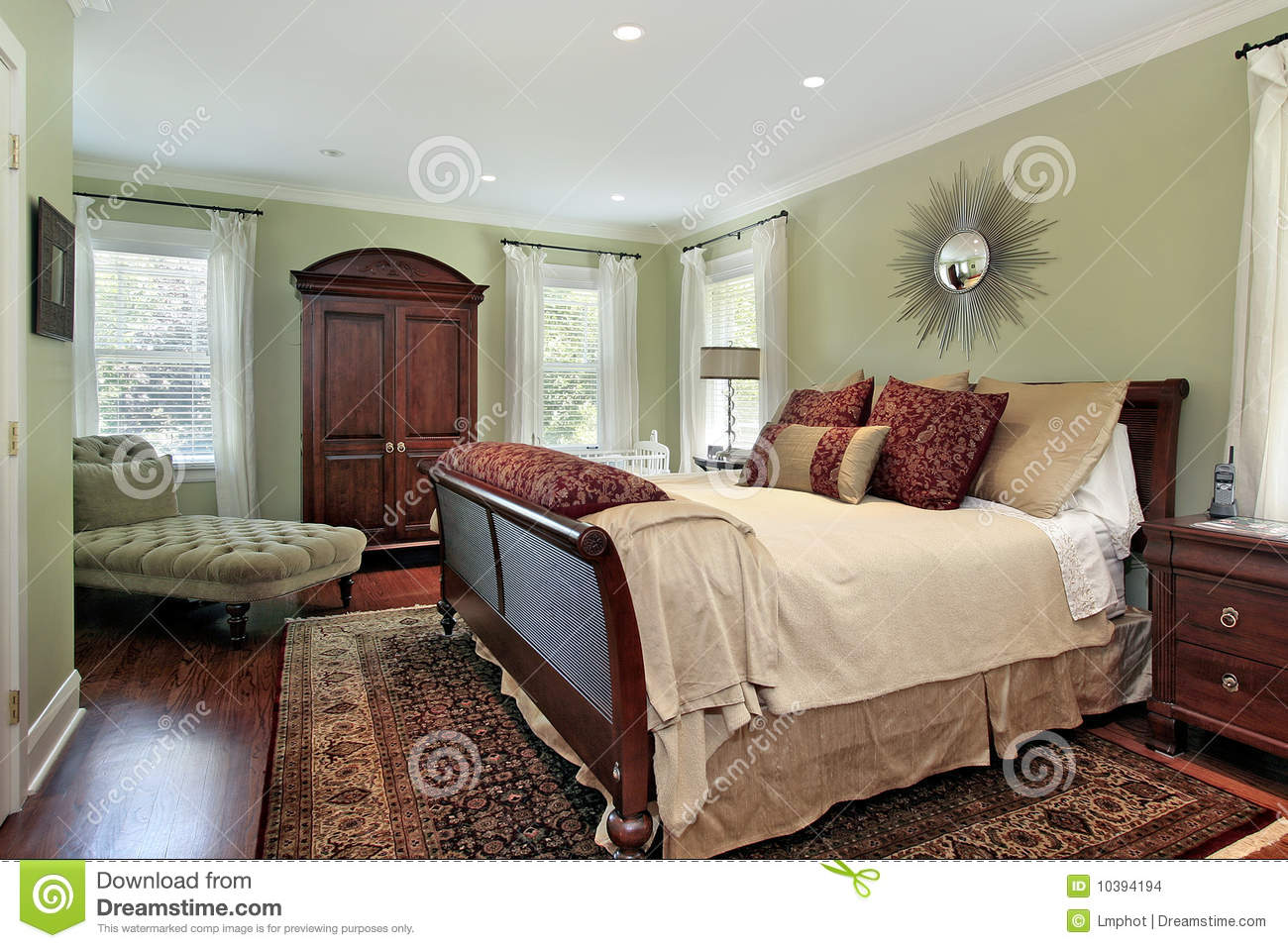 Master Bedroom With Green Walls Stock Images Image 10394194