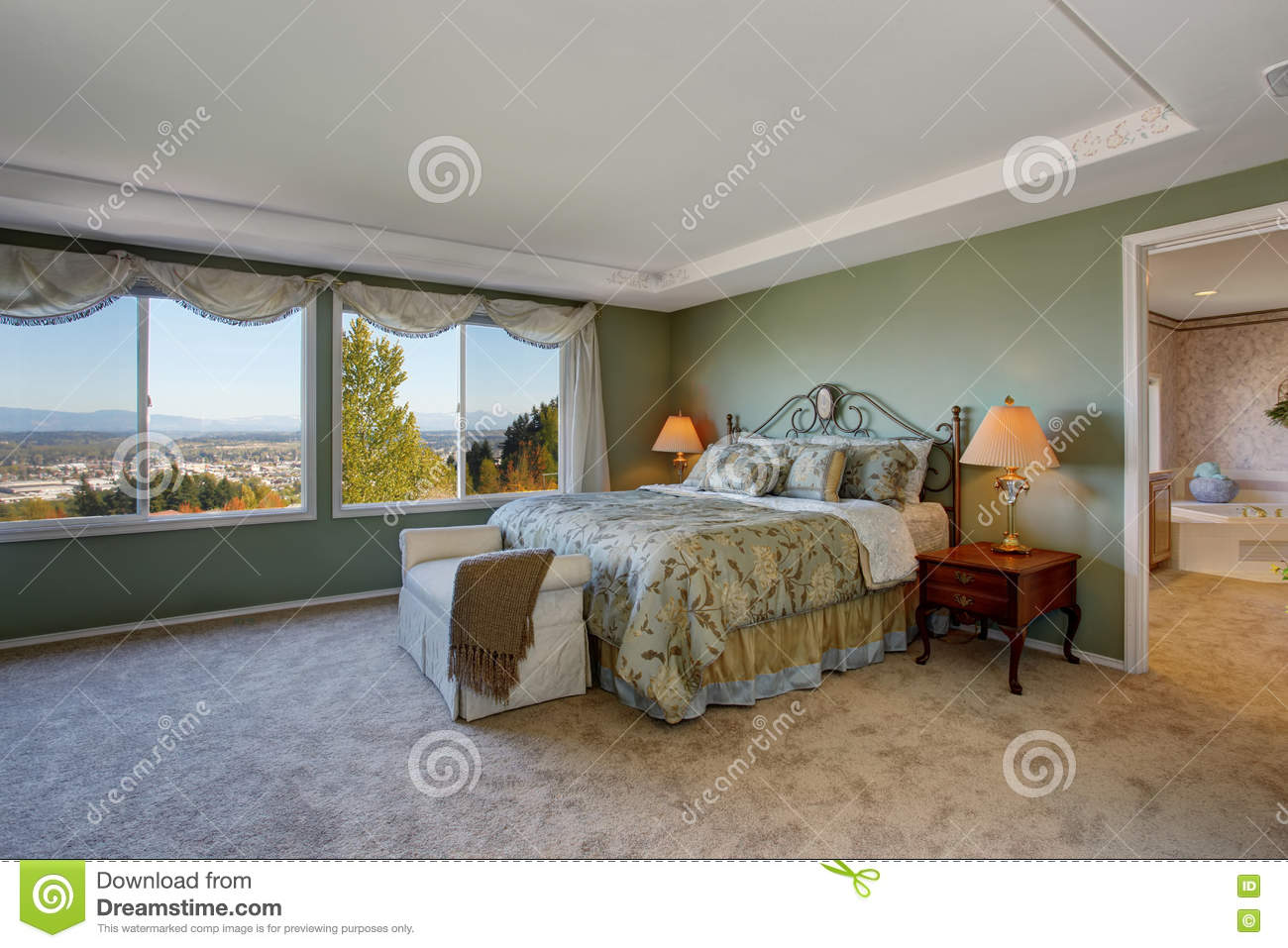 Master Bedroom With Green Walls, Beige Carpet And Floral ...