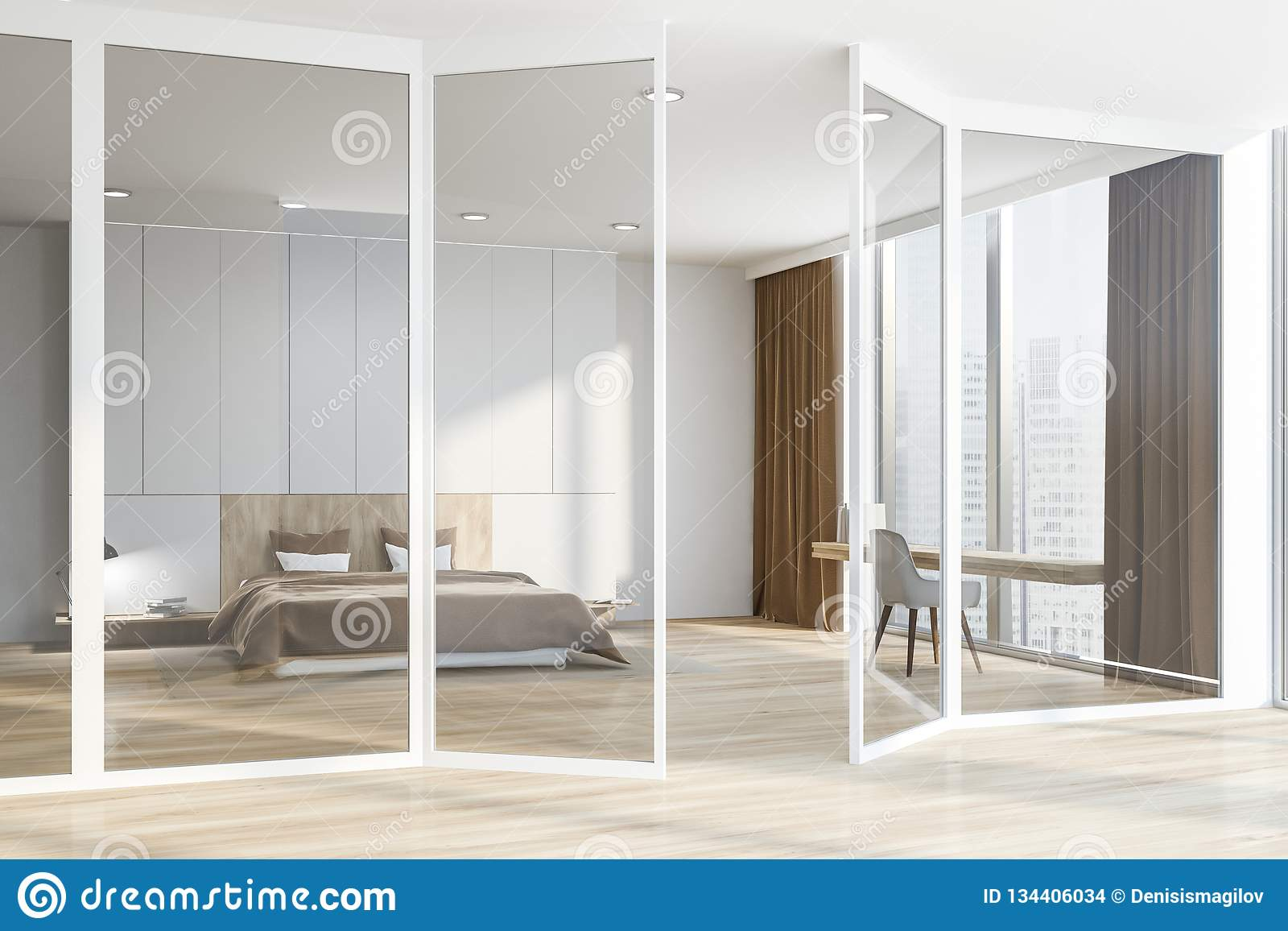 Master Bedroom And Home Office Glass Doors Stock Illustration Illustration Of Bedroom Hotel 134406034