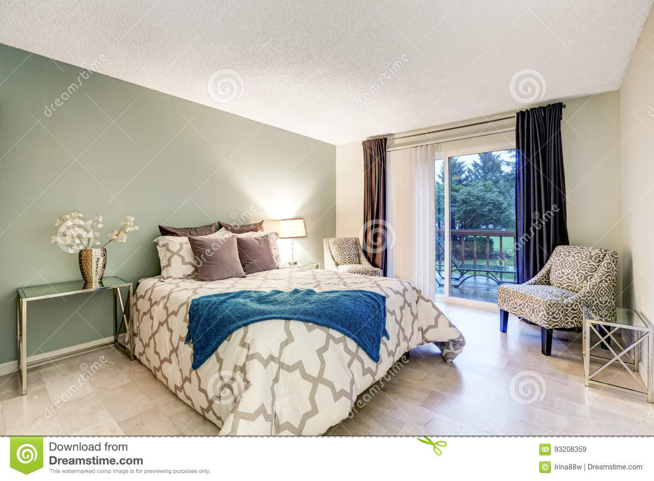 Master Bedroom Interior With Beige And Green Walls Stock ...