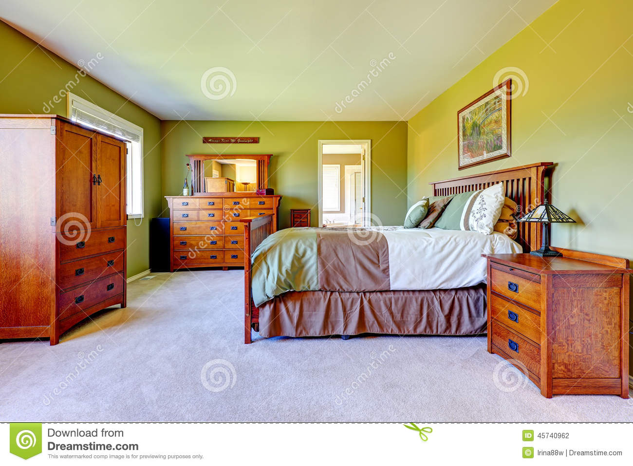 master bedroom interior in bright green color stock photo. Black Bedroom Furniture Sets. Home Design Ideas
