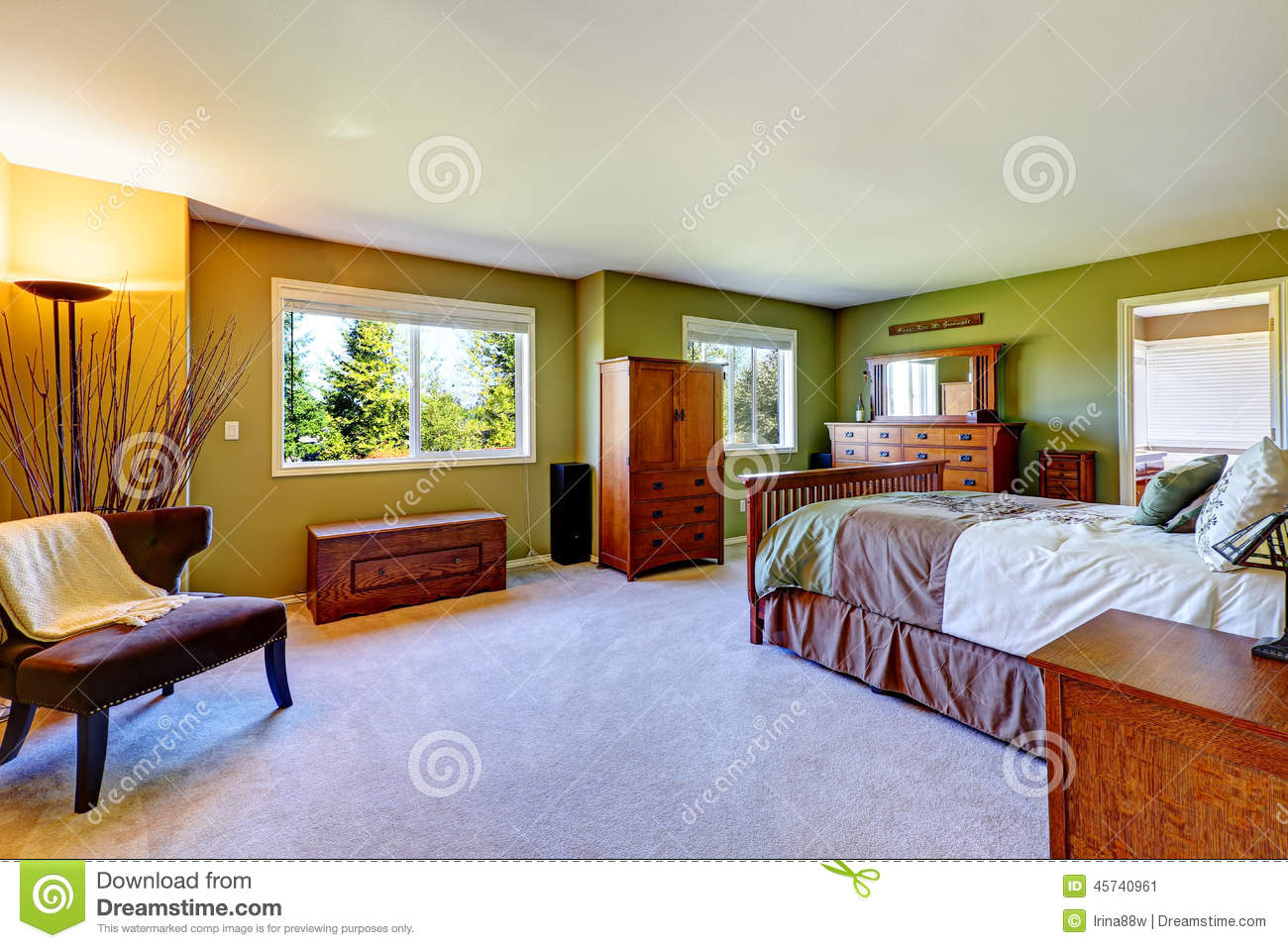 Master Bedroom With Green Walls Stock Image 15757339