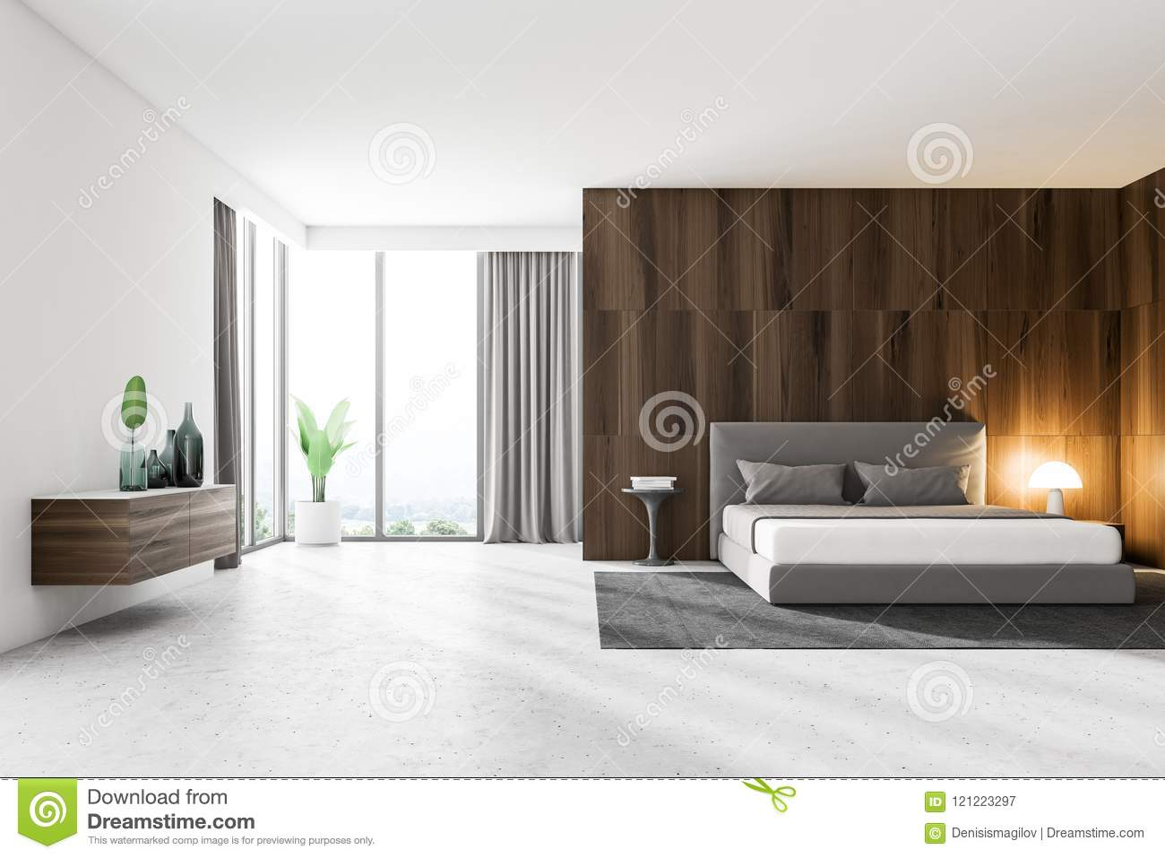 Chambre Blanche Et Bois dark wood and white master bedroom interior stock