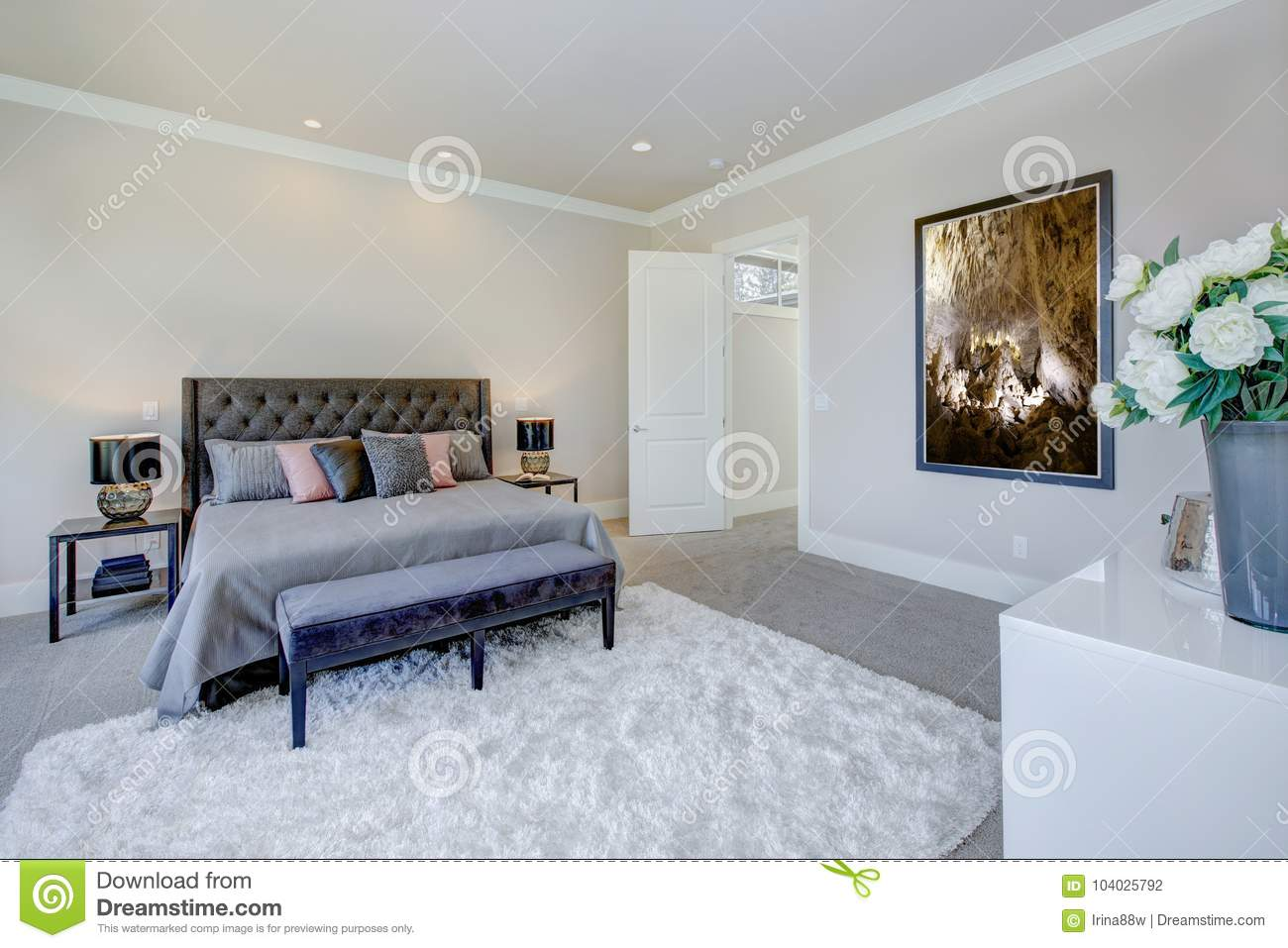 Master Bedroom Interior With King Size Bed Stock Photo - Image of