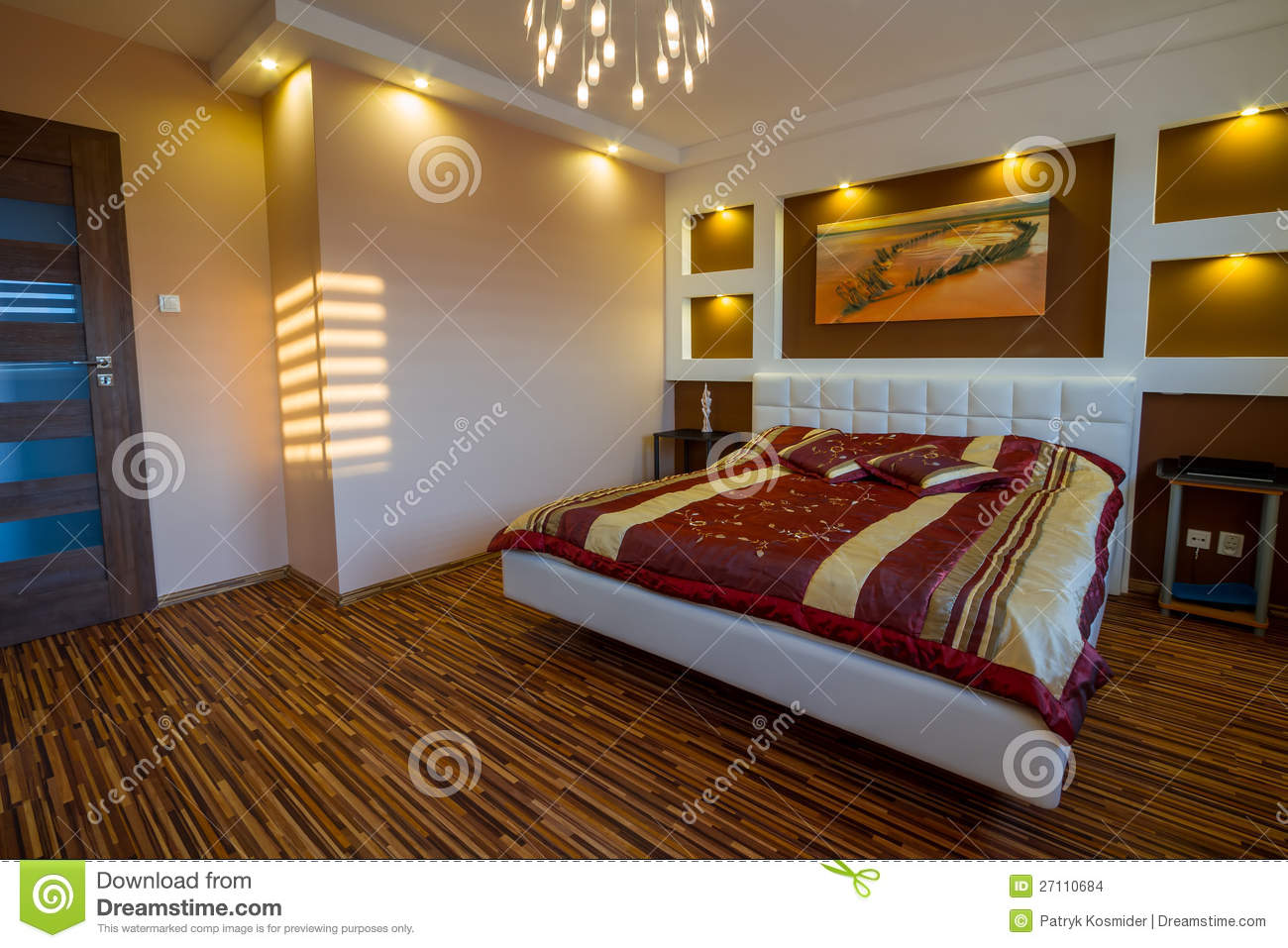 Download Master Bedroom Interior With Spotlights Stock Photo   Image Of  Ceiling, Decoration: 27110684