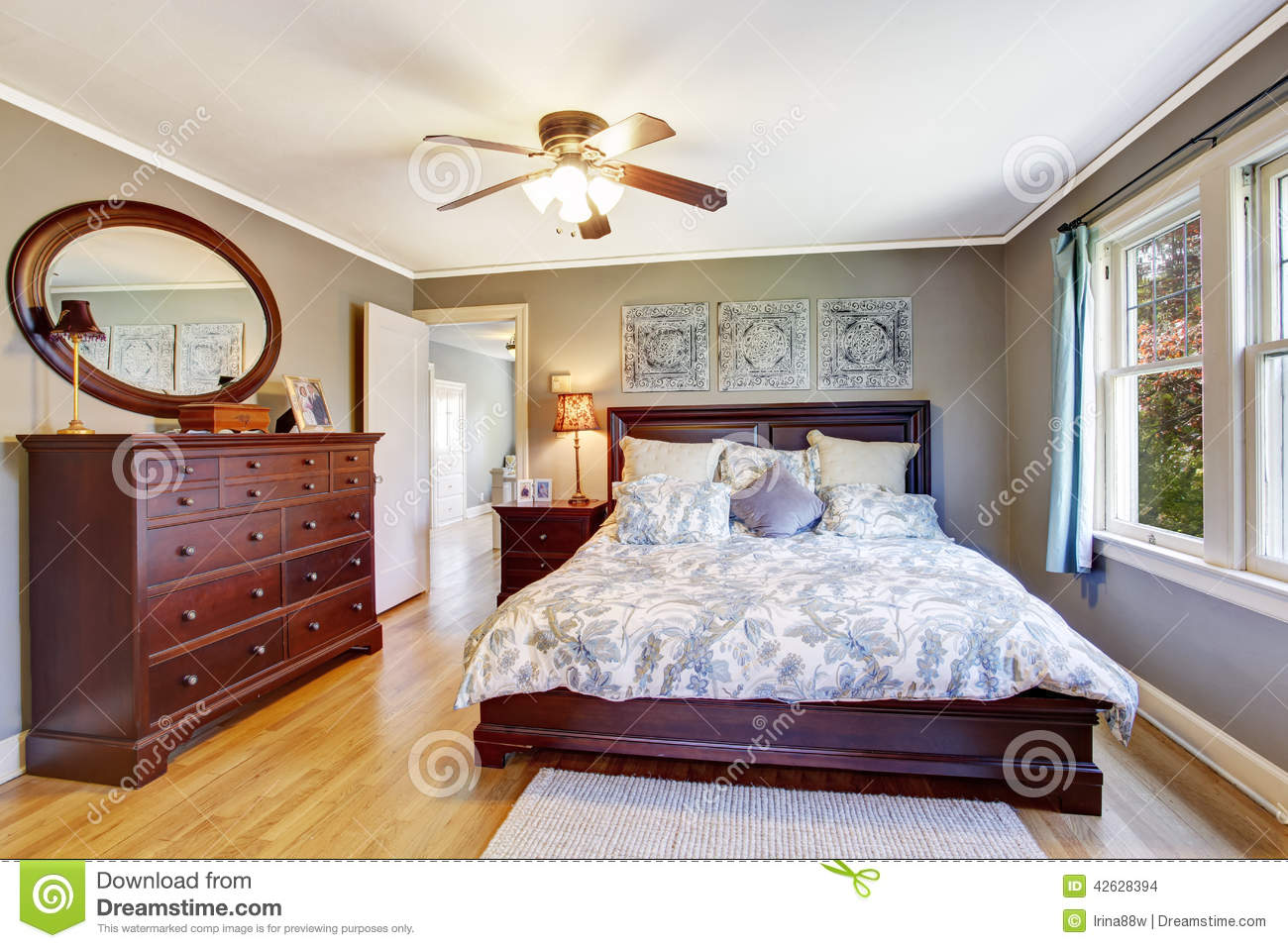 Master bedroom interior with walk in closet stock photo for Master bedroom with ensuite and walk in wardrobe