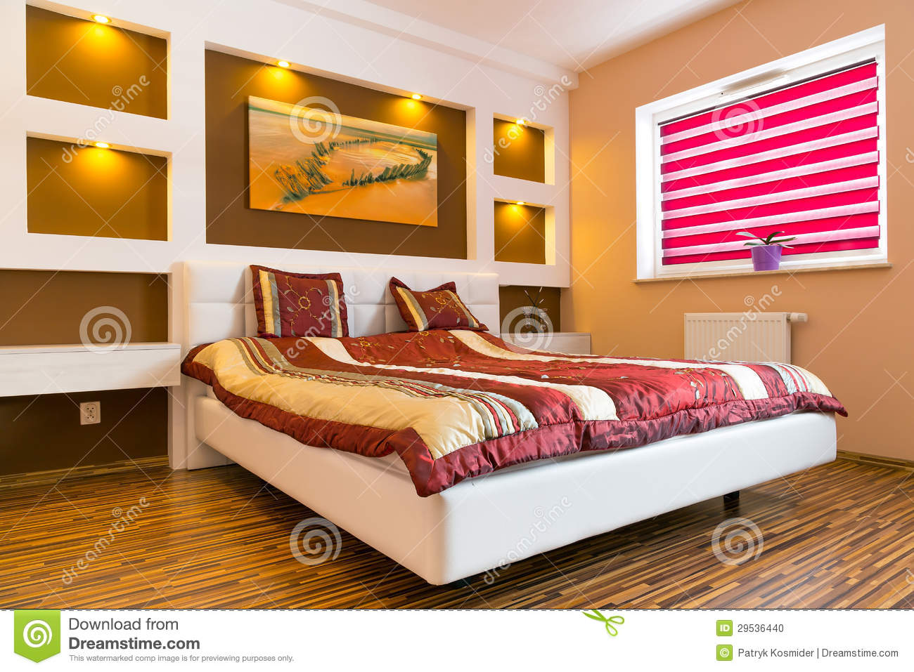 Master Bedroom Interior With White Bed Stock Photo Image 29536440