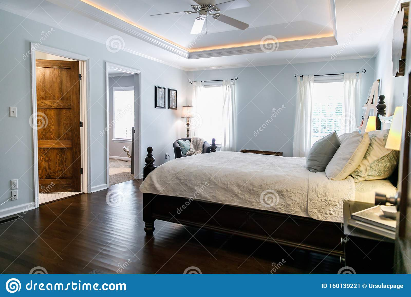 Master Bedroom With King Size Bed And Tray Ceilings With