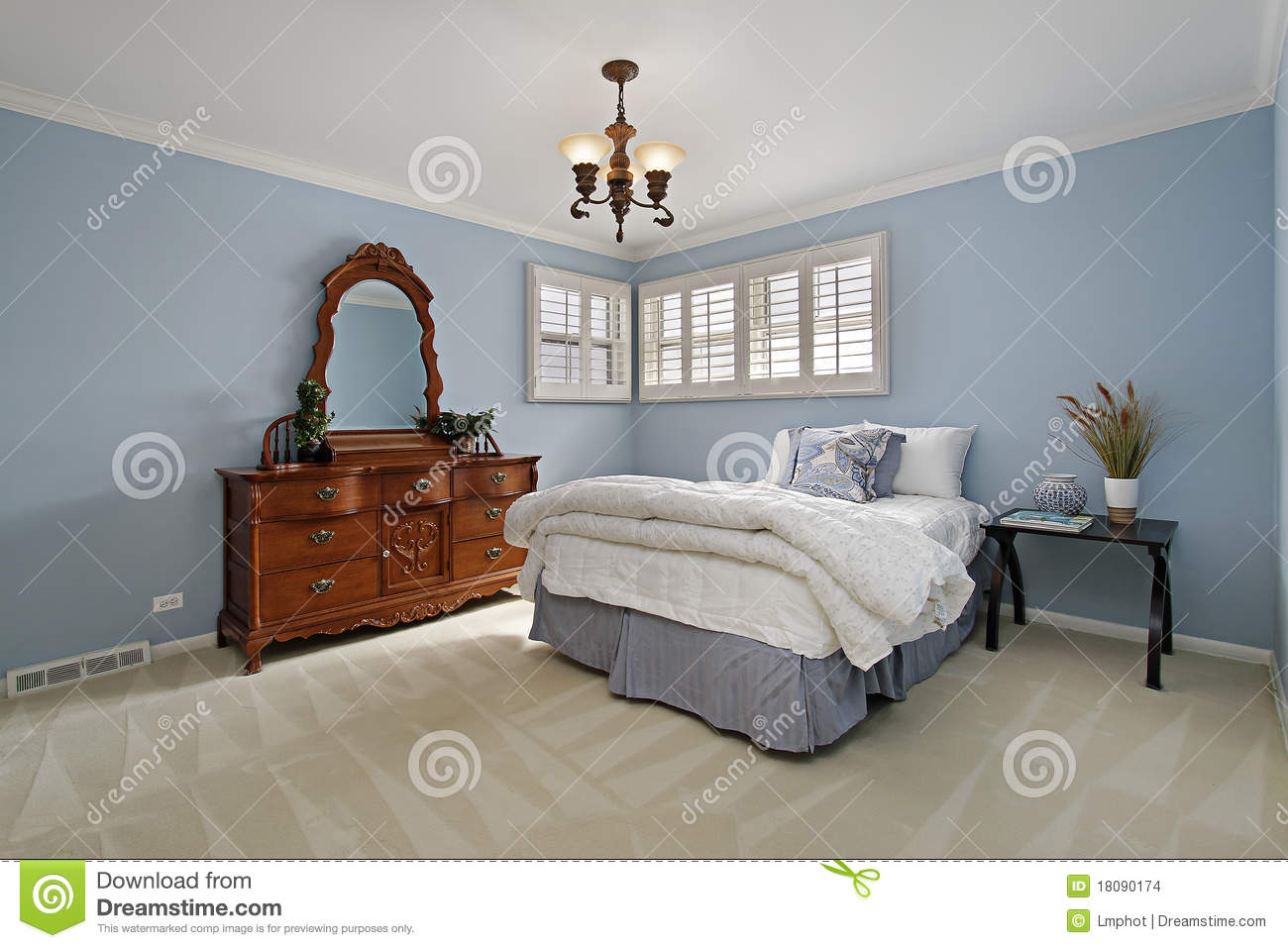 Master Bedroom With Light Blue Walls Stock Photo Image