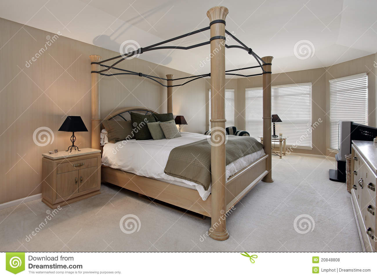 Master Bedroom With Oak Wood Bed Frame Royalty Free Stock Photos Image 20848808