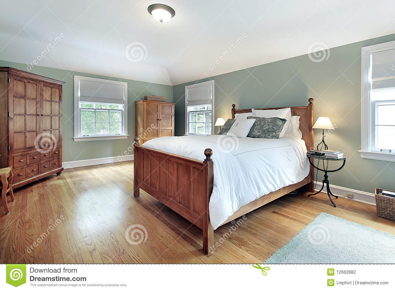 Master Bedroom With Oak Wood Furniture Stock Photo - Image ...