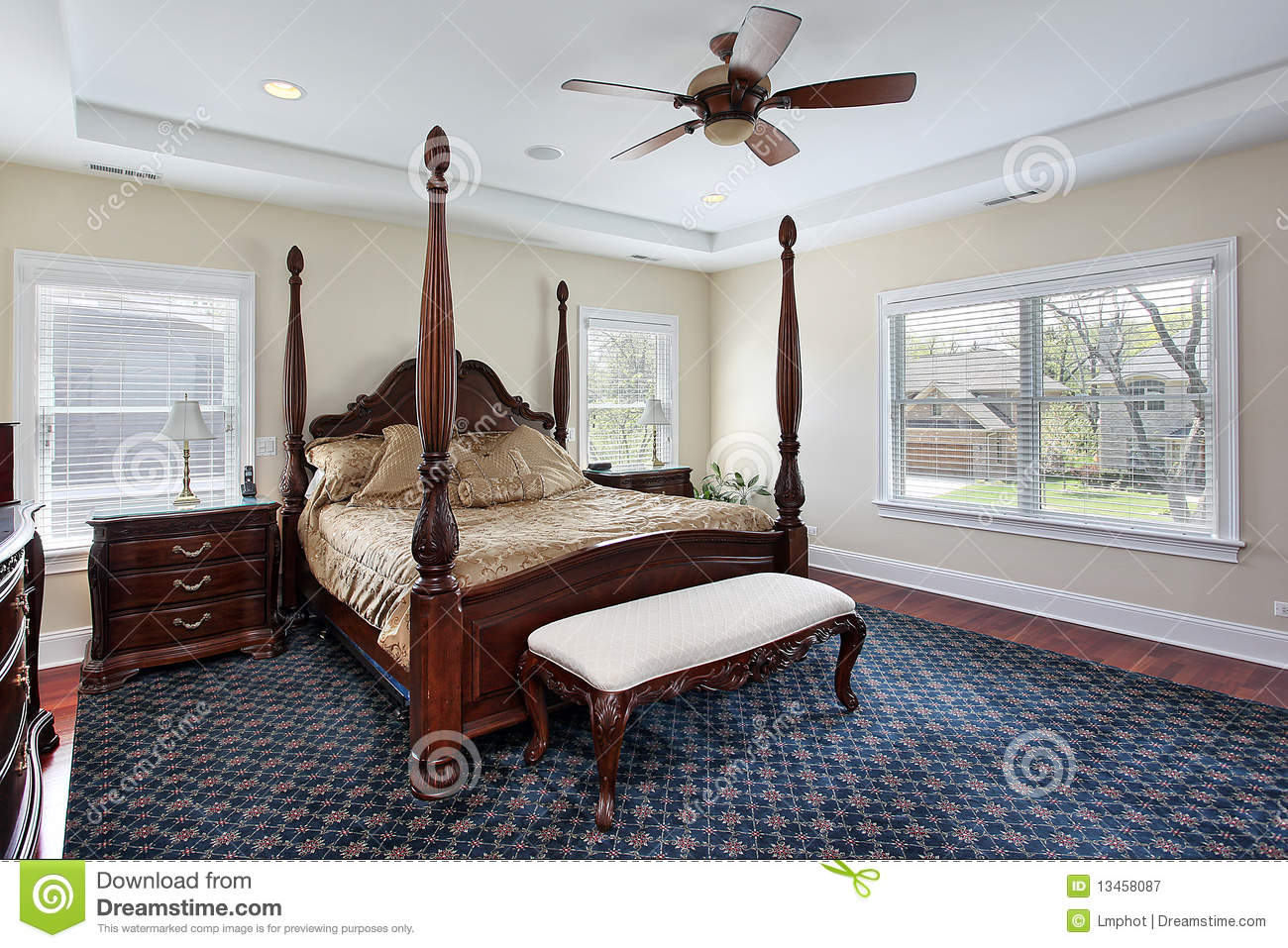 Master Bedroom With Recessed Ceiling Stock Image Image
