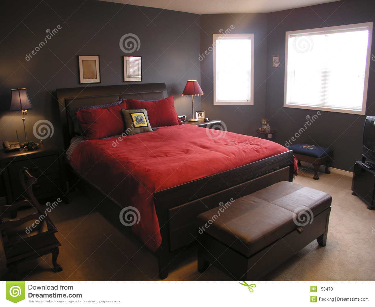 Master bedroom in red 01 stock photos image 150473 Master bedroom with red bedding