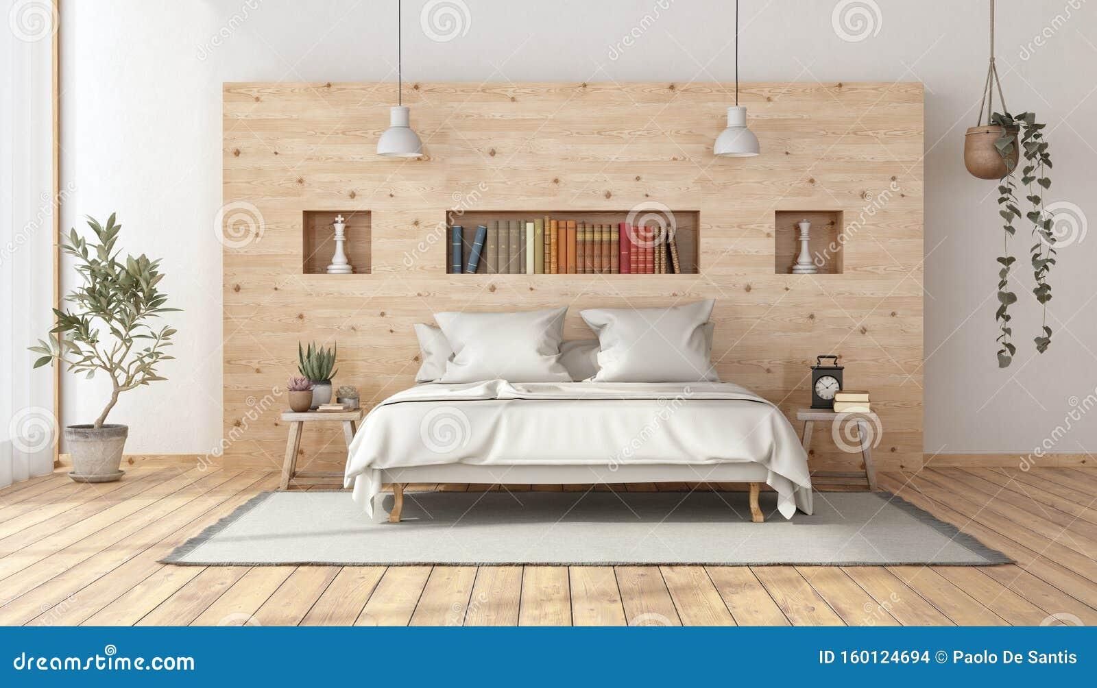 Master Bedroom In Rustic Style Stock Illustration Illustration Of Room Minimalist 160124694