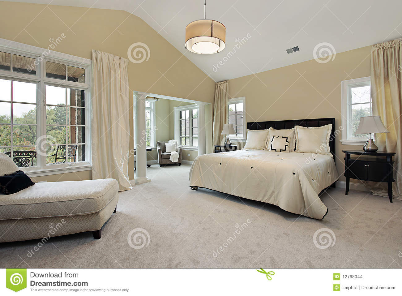 Master Bedroom With Sitting Room Stock Photo - Image of ...
