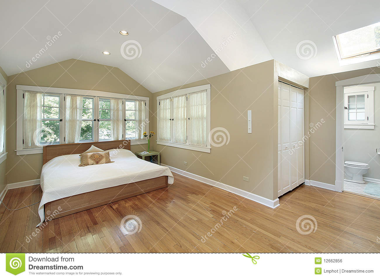 Master bedroom with skylight royalty free stock image for Skylight in master bedroom