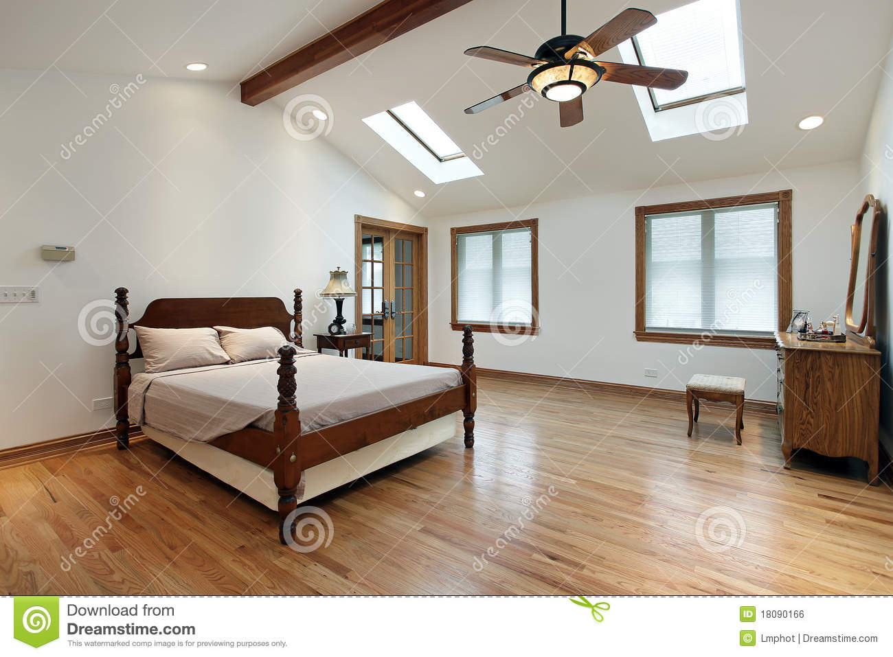 master bedroom with skylights stock photo image 18090166