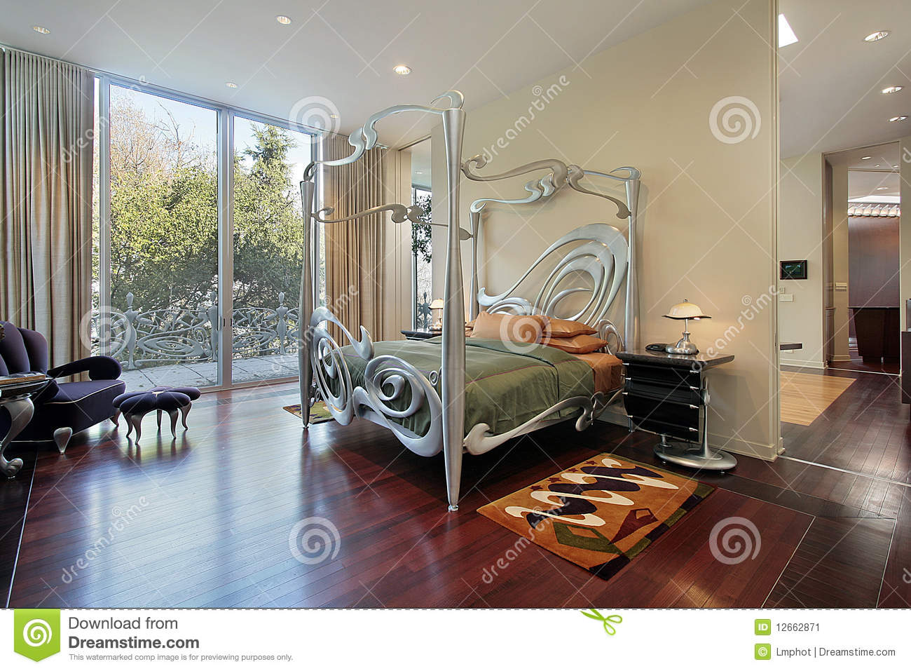 Master Bedroom With Sliding Doors To Patio Stock Image