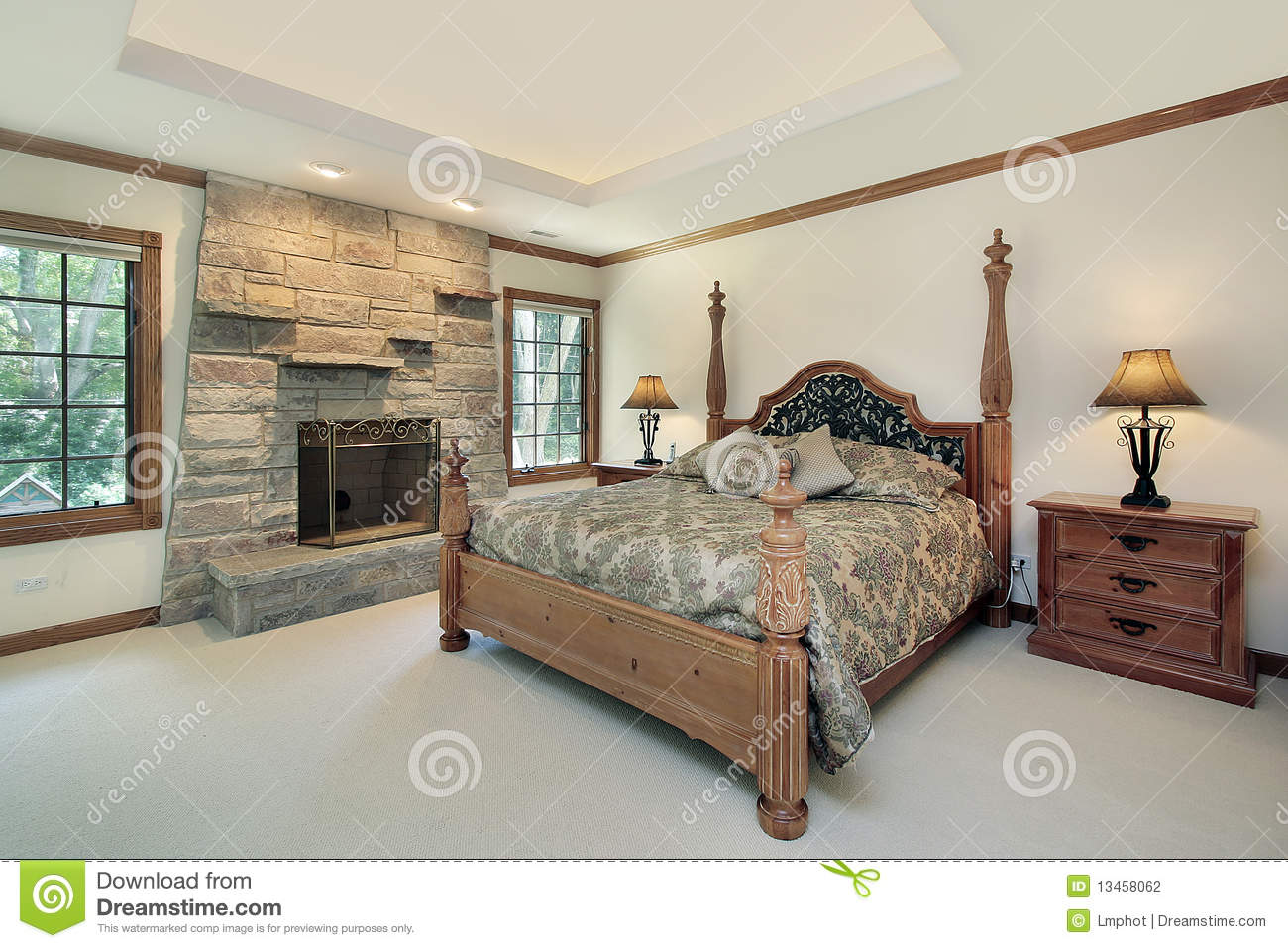 Master Bedroom With Stone Fireplace Stock Photography Image 13458062