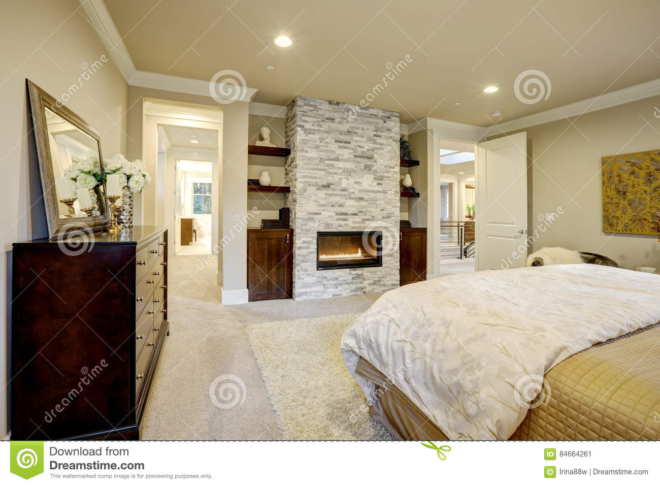 Bedroom stone fireplace - Master Bedroom With Stone Fireplace