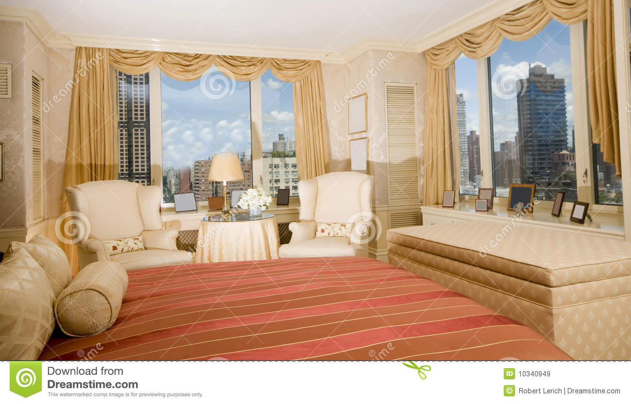Master Bedroom Suite Penthouse New York Royalty Free Stock