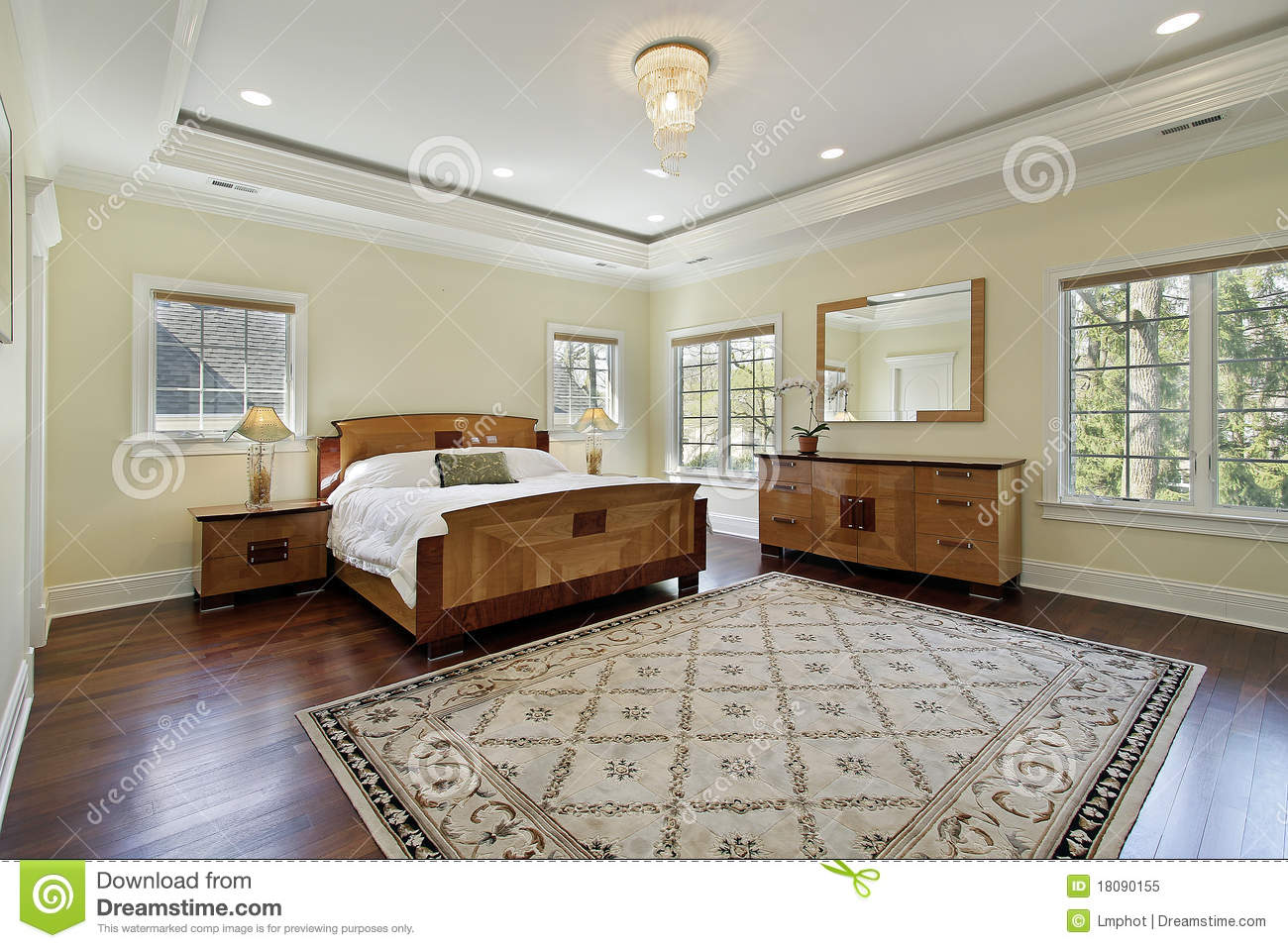 Master Bedroom With Tray Ceiling Stock Image Image 18090155