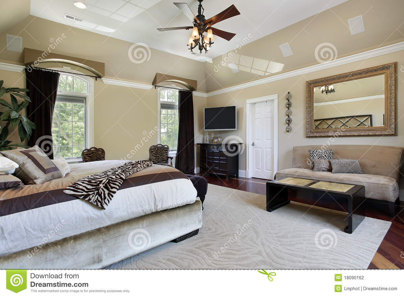 Master Bedroom With Tray Ceiling Stock Photo - Image of floor, real ...
