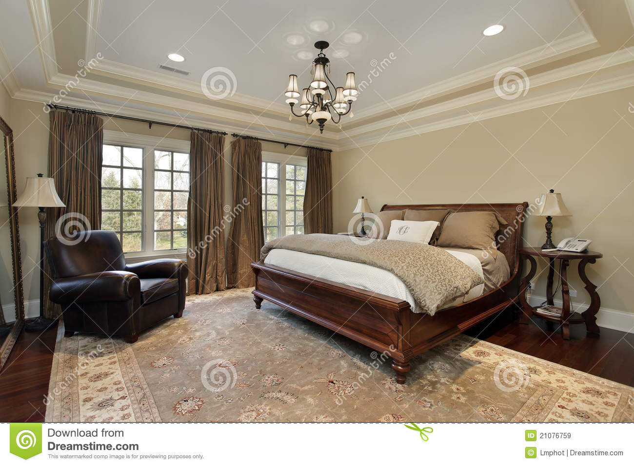 Master Bedroom With Tray Ceiling Stock Image - Image of suburbs ...