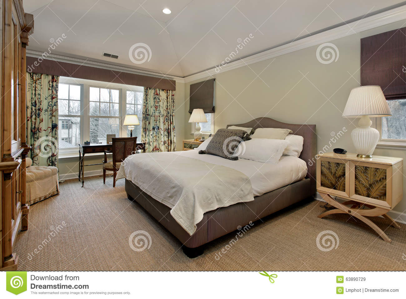 Master Bedroom Tray Ceiling master bedroom with tray ceiling stock photo - image: 63890729