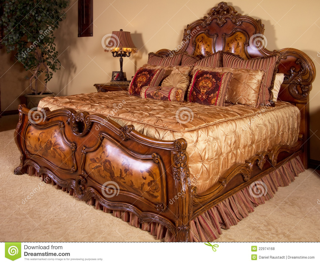 Carved King Size Bed