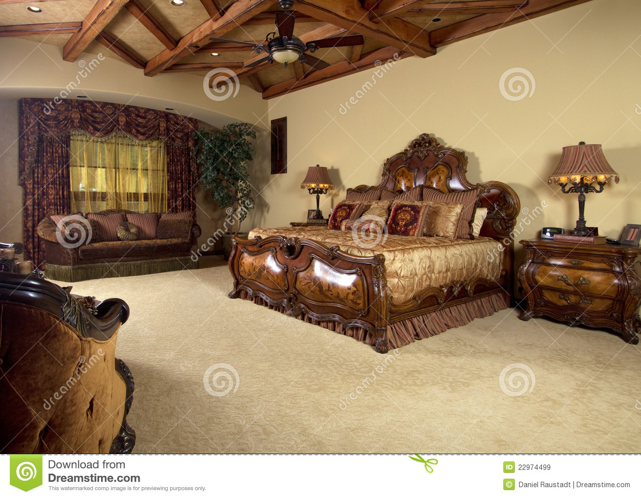 Master Bedroom Unique Bed Royalty Free Stock Images