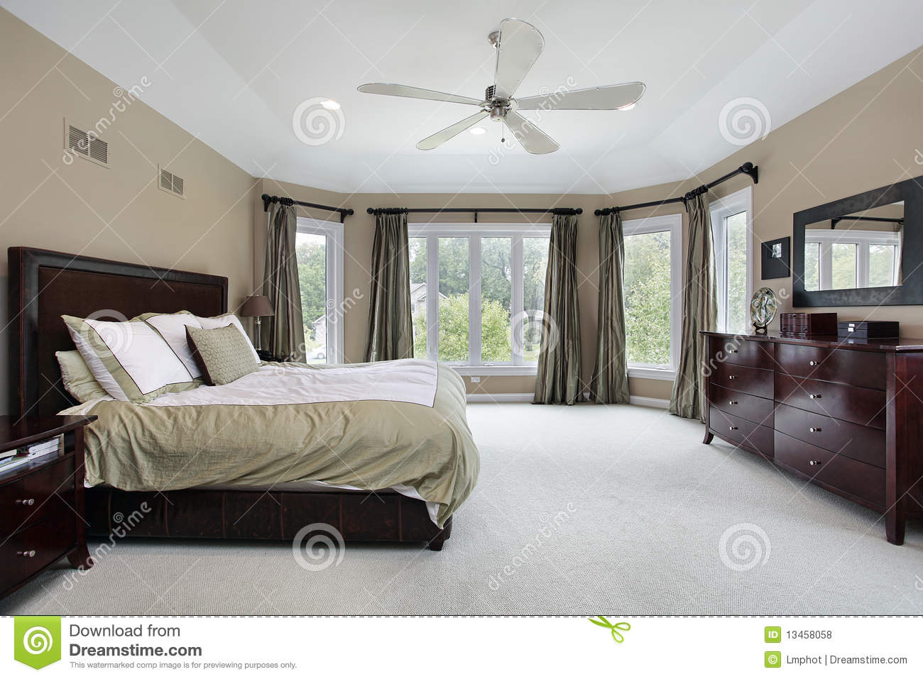 Master bedroom with wall of windows stock photo image of for Window master