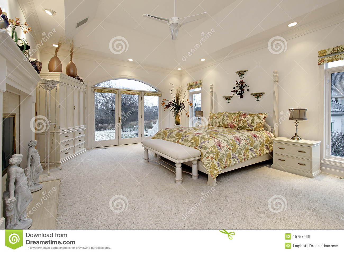 Master Bedroom With White Fireplace Stock Photo Image 15757266