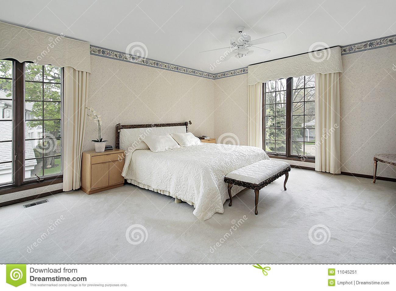 Master Bedroom With Wood Trim Windows Stock Image Image Of Decorate Fixtures 11045251
