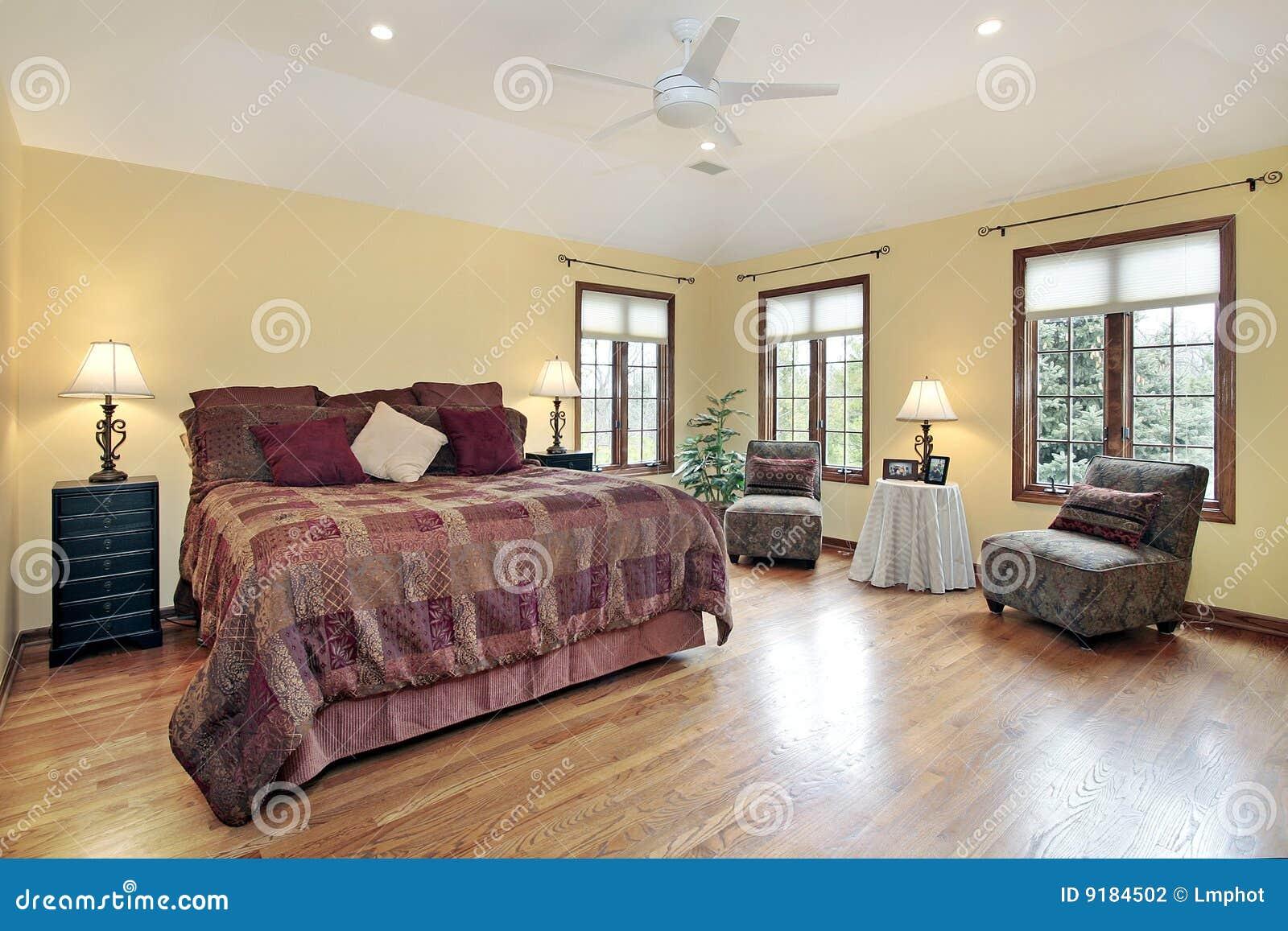 Master Bedroom With Wood Trim Windows Stock Photo Image