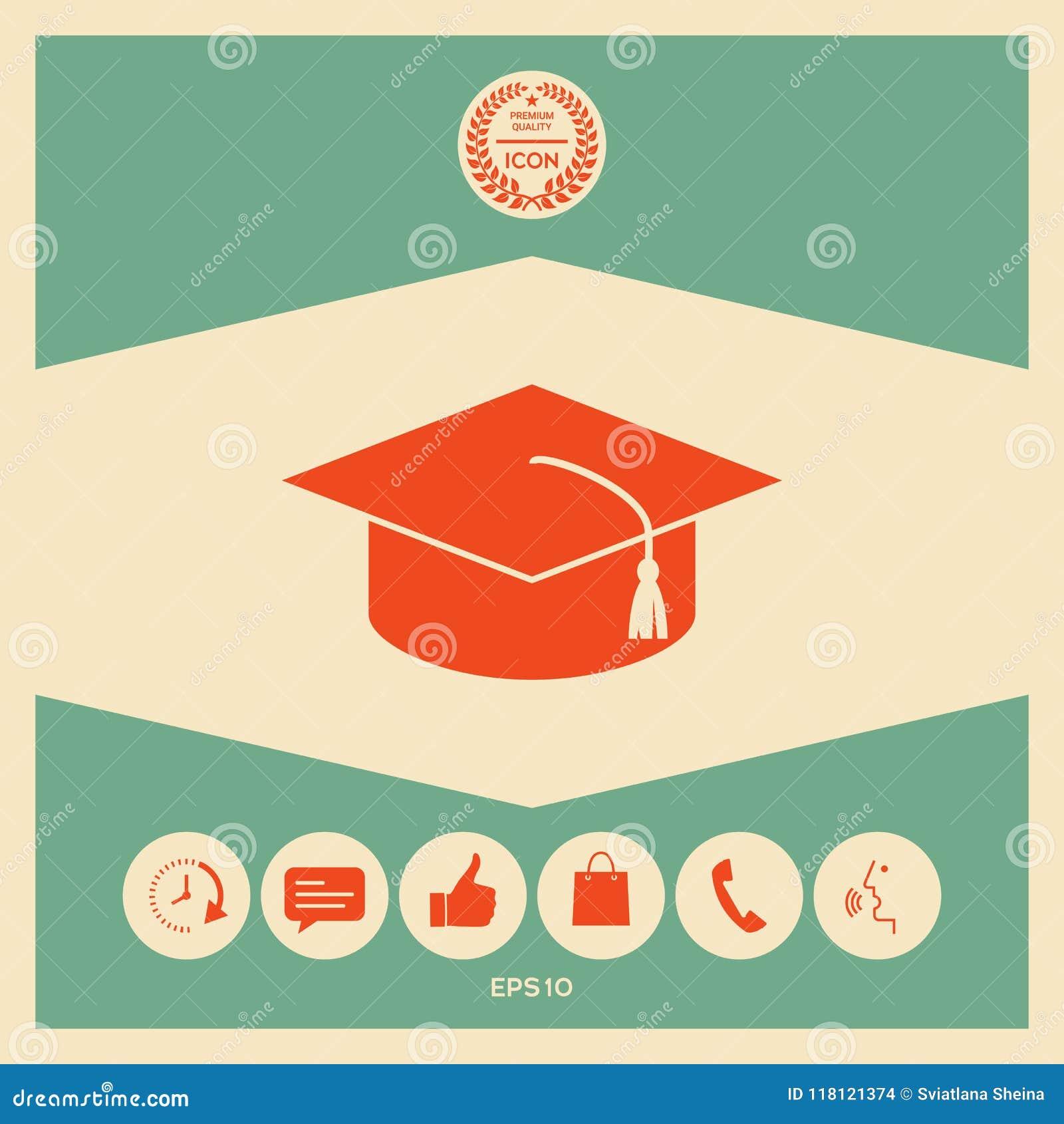 Master cap for graduates, square academic cap, graduation cap icon