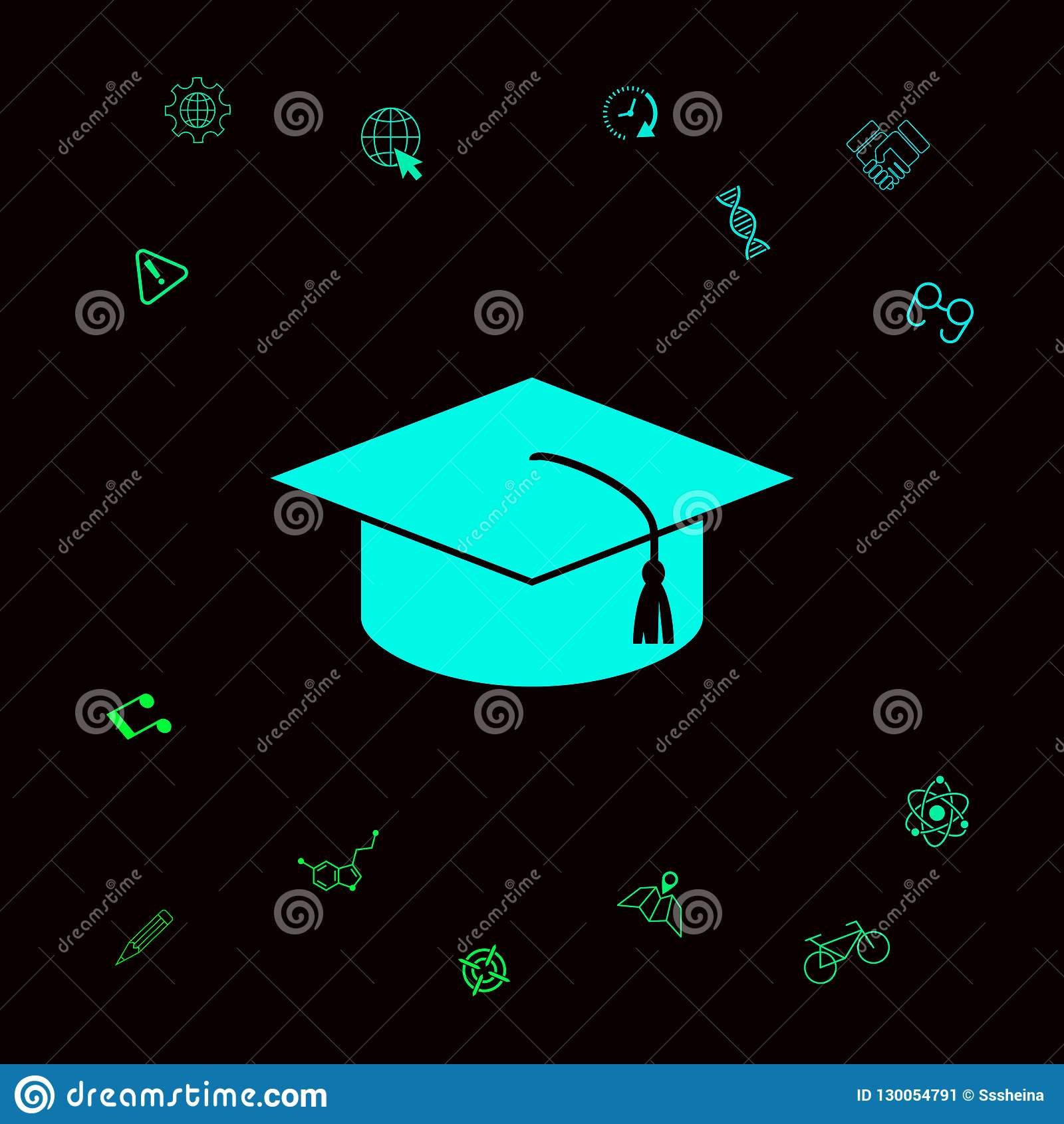 Master cap for graduates, square academic cap, graduation cap icon . Graphic elements for your designt