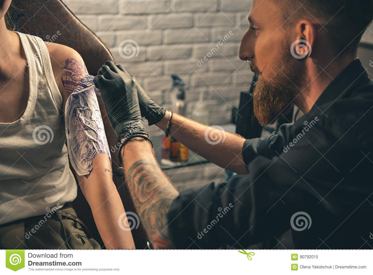 Master Doing Experimental Picture On Female Hand Stock Image - Image ...