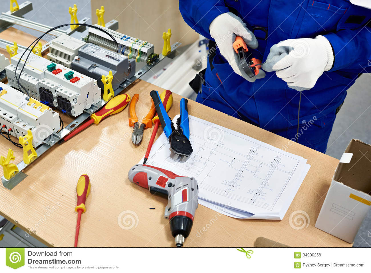 Master Electrician Collects Electrical Diagram Stock Photo Image