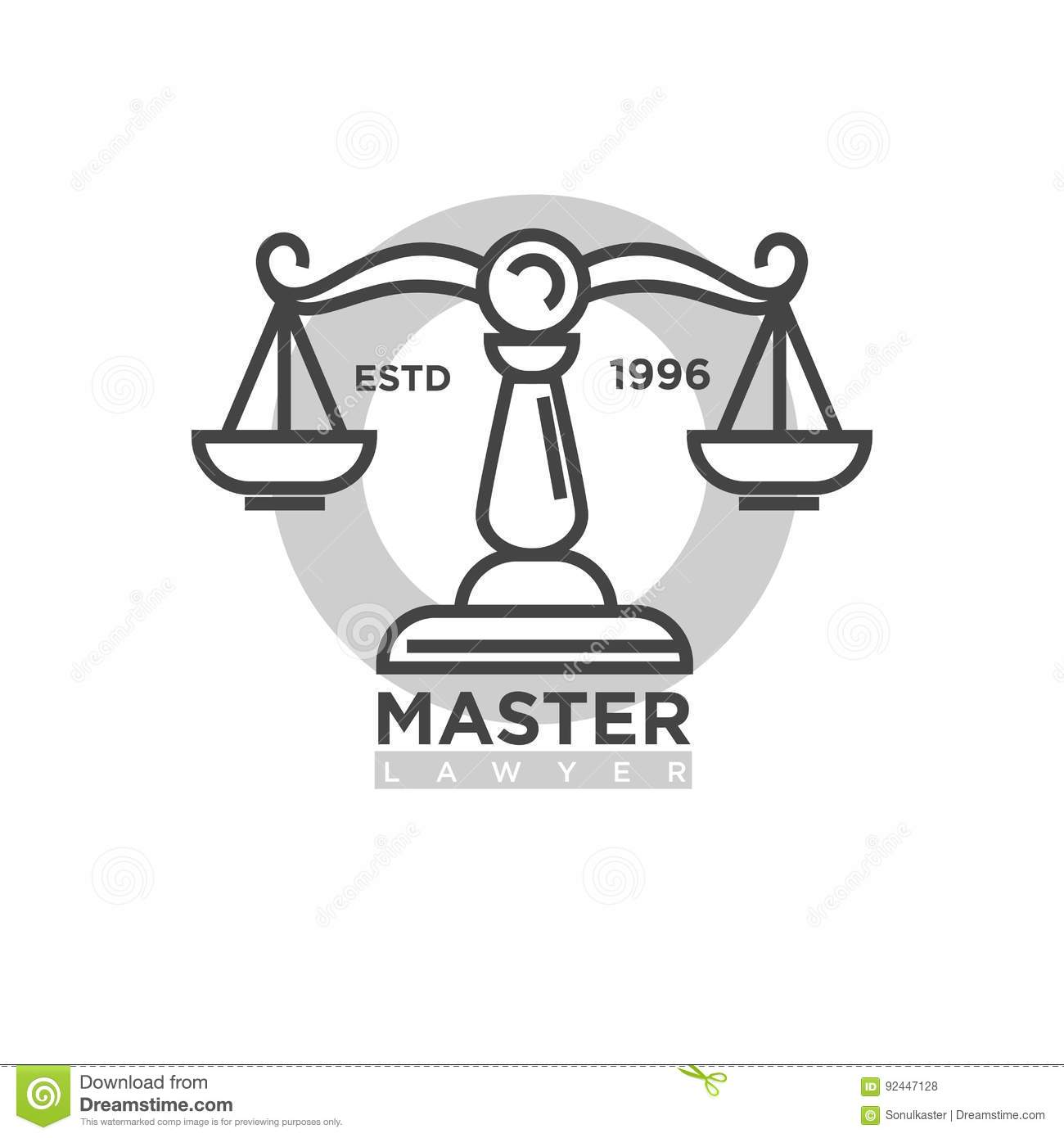 Master Lawyer Organization Emblem With Antique Scales Illustration