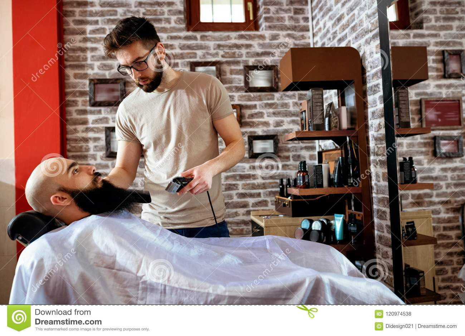 Master makes beards correction, man beauty concept