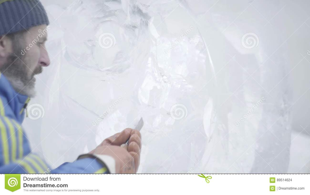 Master Scraper Performs A Movement Across The Ice To Create An Ice ...